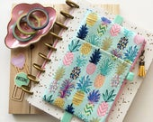 Pineapples planner cover - planner pocket pouch - colorful pineapples print - tassel charm - pineapple bag - pineapples - planner accessory