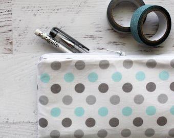 Polka dot pencil bag - cute pencil pouch - gray pencil case - pen pouch - planner pouch - gray planner accessories bag - BUJO pen pouch