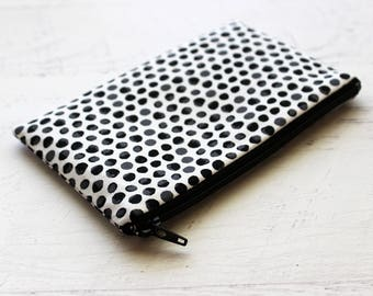 Black zipper pouch - small wallet - zip pouch - polka dots - abstract print - change purse - black coin purse - small zipper pouch - pouches