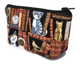 makeup bag, zipper bag, cosmetic bag, cat lover, library books, zipper pouch, toiletry bag, gift for her, deesdeezigns