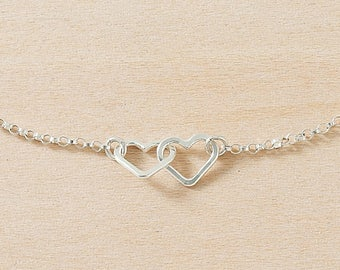 Tiny Hearts Bracelet– Two Sterling Silver Hearts Linked on a Sterling Silver Chain, Hammered Wire Hearts, Handmade Jewelry by Freshie & Zero