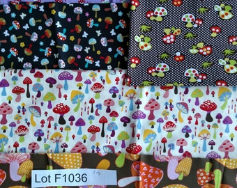 Mushrooms Mixed Fabric DESTASH LOT F1036 Colorful Rare Quilting cotton. Over 11 oz. Approx. 2 yards. First 2 images only. More lots avail.