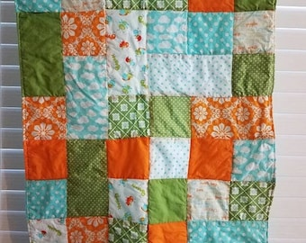 Moving Sale Summer Baby Buggy Baby Quilt - auqua blue, lime green, orange, white 308