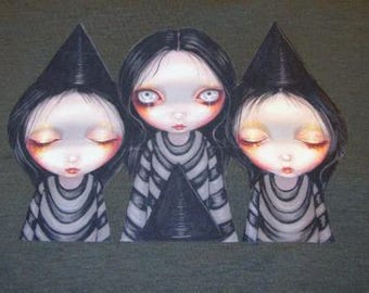 CLEARANCE Tshirt Three Witchy Sisters  by Jasmine Becket-Griffith Adult Unisex Large L gray 100% cotton tee t-shirt sublimation