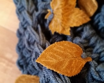 Leaf Infinity Scarf, Suede Scarf, Gift for Her