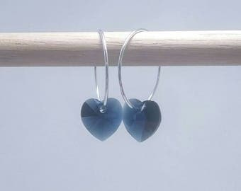 Little Sweetheart Earrings with Swarovski Crystals and Sterling Silver