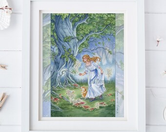 The Fool tarot art, fairy art, corgi, Woodland forest, toadstools, fairy door, illustration, 8x10,