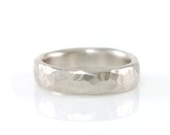 Hammered Wedding Ring - Palladium/Silver Wedding Band - 4mm  - made to order wedding rings in recycled metal