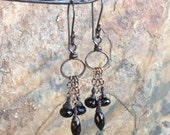 Black SPINEL Earrings, black gemstone jewelry, chandelier hoop earrings, handmade artisan jewelry by AngryHairJewelry
