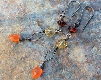 Citrine, CARNELIAN and GARNET linear earrings, oxidized sterling silver, Multi gemstone earrings