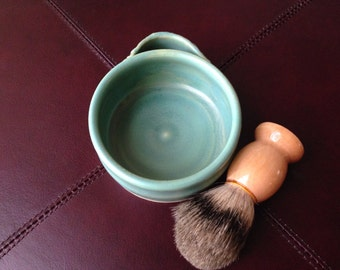 Smooth Satin Green Shave Mug Set with Badger Brush