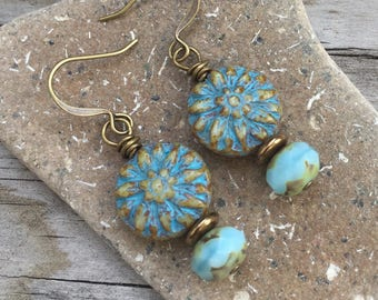 BLUE DAHLIA Flower Drop Earrings with Antique Brass and Czech Glass Beads SYMBOLIZE Grace Under Pressure