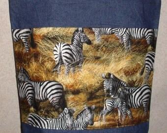 New Handmade Large Denim Tote Bag Zebra all over Wildlife Theme