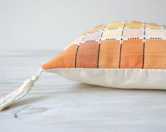 Vintage Throw Pillow Cover Yellow Orange Checked Pattern