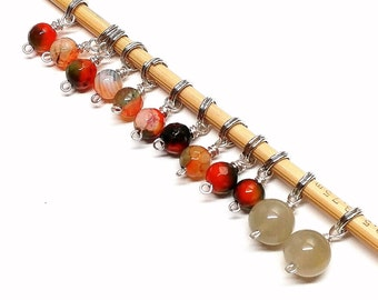 Gorgeous glass beaded stitch markers- Shawl Set (12 markers), fit up to 3.75 mm knitting needles