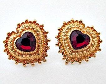 Heart Vintage Stud Pierced Earrings - 1995 Avon Harmonious Heart Earrings - Heart Earrings Jewelry