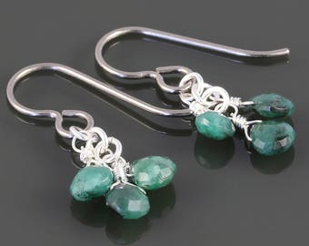 Emerald Cluster Earrings. 3 Stones. Titanium Ear Wires. Genuine Emeralds. May Birthstone. s17e061