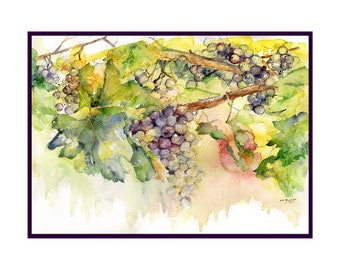 Watercolor Summer Grapes Note Cards, Notecards, Grape Art, Grape Prints, Wine Grapes, Stocking Stuffers, Gift Box