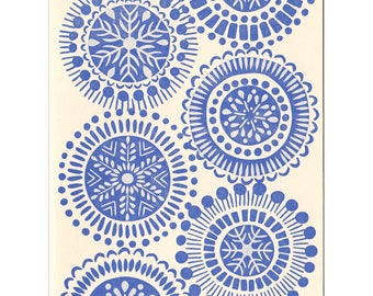 Blue Snowflakes letterpress greeting cards - set of five, blank inside