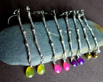 Sterling Silver Twig Earrings, Twig and Gemstone Earrings