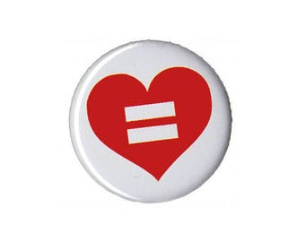 """Equal Love Button Badge Pinback 1"""", 1.25"""" or 2.25"""" gay lesbian queer marriage equality"""
