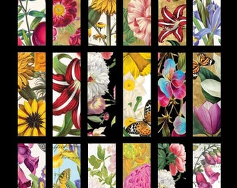 Fabulous Flowers No. 1 - 1x3 Inch - Digital Collage Sheet - Instant Download