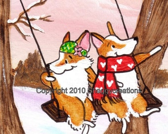 "PEMBROKE WELSH CORGI Art Print Corgi Valentine's Day Art Print ""Swinging Away"" Dog Art  Dog Lovers Gift Dog Art Print Sweetheart Swing"