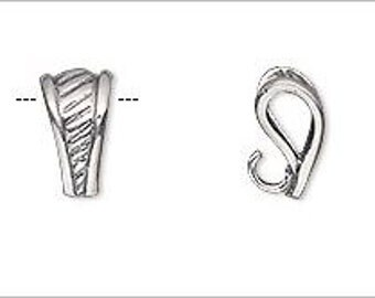 Sterling Silver with Diagonal Pattern & Hidden Loop 12x6mm 1 pc