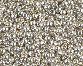 TUBE 8/0 Silver Opaque GALVANIZED Miyuki Round Seed Beads approx 10 grams