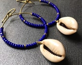 Sale-Cobalt Beaded Hoops with Cowrie Shells