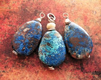 Shattuckite Pendant Trio in Antiqued Sterling Silver - 3 pieces - 27 and 34mm in length