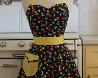 Retro Full Apron Cherries on Navy - BELLA