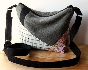Modern Zen Crossbody Purse 1 - slouchy, handbag, Japanese, bag, plaid, floral, pink, black, gray, grey, gold