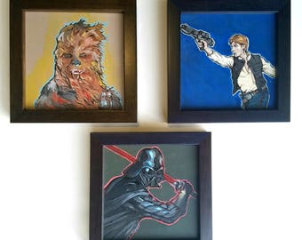Star Wars Triptych Han Solo Chewbacca Darth Vader paintings