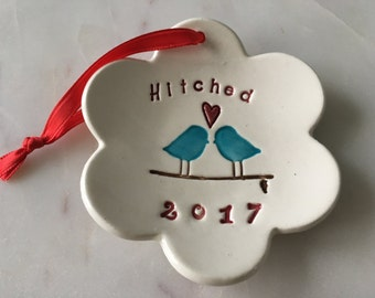 Wedding Gift, Wedding Gift For Couple, Wedding Keepsake, Love Birds, Our First, Personalized, Hitched Love Birds Ornament