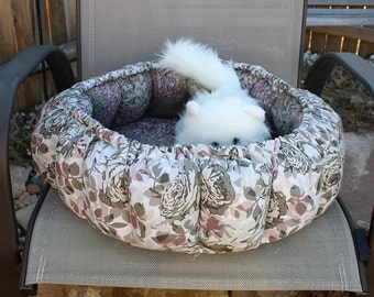 Cat Bed, Round Cat Bed, Small Dog Bed, Fabric Cat Bed, Pet Bed, Fabric Pet Bed, Brown Pet Bed, Luxury Cat Bed, Washable Pet Bed, Indoor Bed