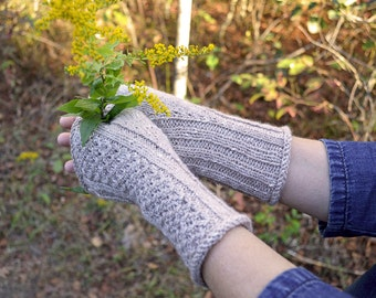 Allons Fingerless Mitts Knitting Pattern PDF