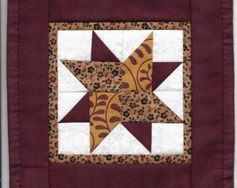 Free US Shipping! Burgundy Star #6319 Dollhouse Quilt or Rug Great for OOAK Sculpt Doll