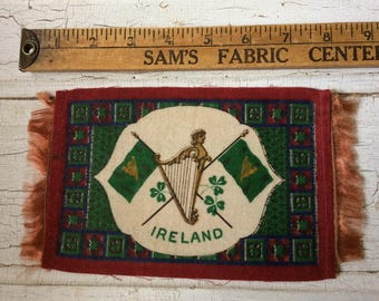 vintage cigar felt,collectible felt,Irish banner,dollhouse rug,memorialbilia,cigar flannel,cigar premium,Ireland,Irish flag,Shamrock