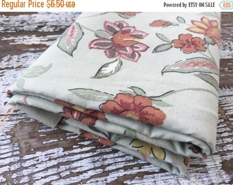 SALE- Green Floral Fabric-  Reclaimed Vintage Bed Linens Fabric-