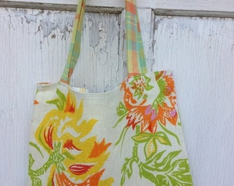 50% OFF- Garden Tote Bag-Library Bag-Upcycled