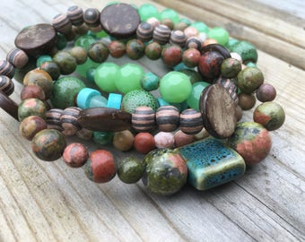 Beaded Stack Bracelets-Glass and Wood-Cuff Accessories-Boho Style-Marine Life