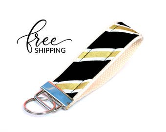 Key Fob Keychain Wristlet | Fabric Keychain with Black and Gold Stripe or Chevron | Free Shipping