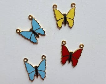 Vintage enamel butterfly connector charms