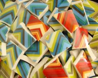 Mosaic Tiles Mix Broken Plate Art Hand Cut Tiles Zig Zag 100 Red Green Blue Stripe Pieces