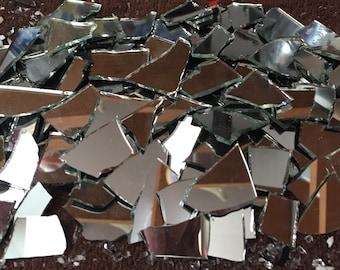 Mosaic Tiles Broken Mirror Glass Shards Pieces Tesserae Thin 200 pieces
