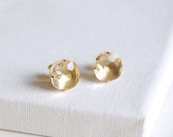 SALE . glacier . crystal // crystal cushion cut stud earrings . faceted square gem earrings . simple rhinestone studs . ice cube earring