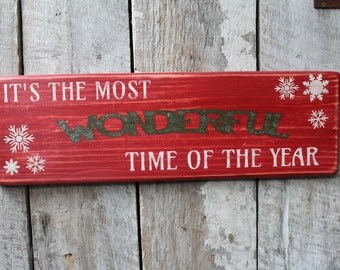 Primitive Wood Sign Its The Most Wonderful Time Of The Year Christmas Decoration Holiday Sign Rustic Cabin  Home Decor Snowflakes