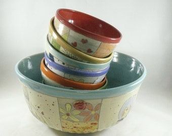 Ceramic Salad Bowl Set, Decorative Ceramic Bowls  in Bright Colors Mother's Day Gift,  Wedding Gift - Carved Art Vessels - Colorado Pottery