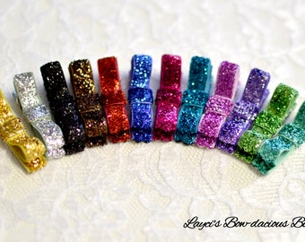 Set of 12 Glitter Hair Clips - no slip baby hair clips - baby bow lot - hair bow set - no slip baby bows - glitter bows - glitter hair clips